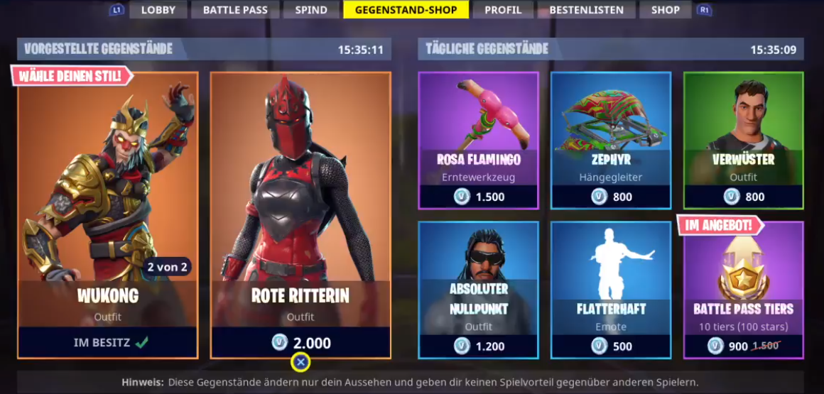 Fortnite Shop Vom 22022018